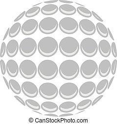 vetorial, bola golfe