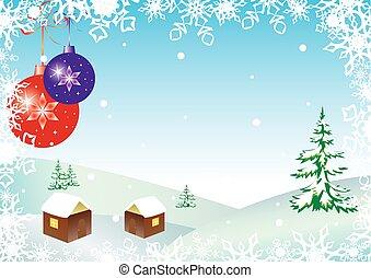 vetorial, bolas, inverno, ilustração, snowflakes