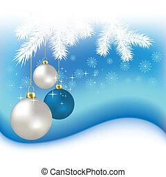 vetorial, bolas, snowflakes, fundo, natal