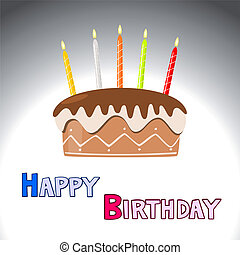 vetorial, bolo aniversário, com, queimadura, velas