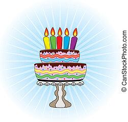 vetorial, bolo aniversário, ligado, um, levantar, com, queimadura, velas