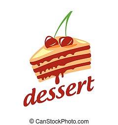 vetorial, bolo, cerejas, dois, logotipo