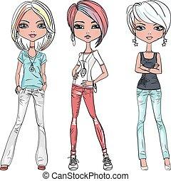 vetorial, bonito, moda, meninas, topo, modelos