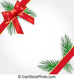 vetorial, borda, presente natal, vermelho