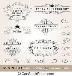 vetorial, bordas, e, desenho, ornamentos, jogo