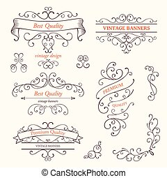 vetorial, bordas, e, scroll, projete elementos
