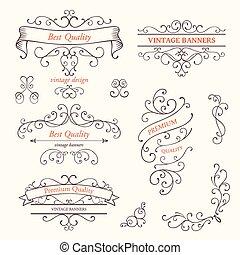 vetorial, bordas, elementos, desenho, scroll