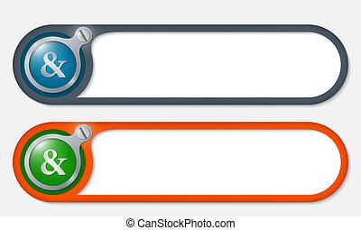 vetorial, botões, com, parafuso, e, ampersand