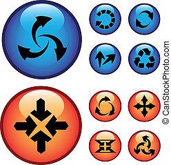 vetorial, botões, com, setas