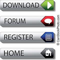 vetorial, botões, -, download, fórum, registo, lar