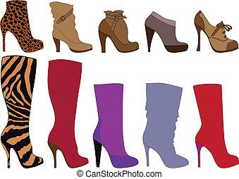 vetorial, botas, sapatos