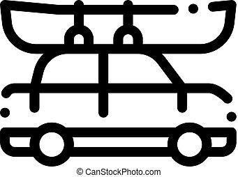 vetorial, bote, ilustração, ícone, canoagem, dirigido, car