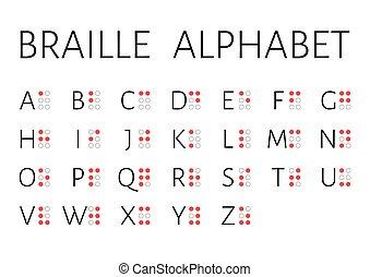 vetorial, braille, ilustração, versão, letras, inglês,...