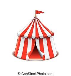 vetorial, branca, circo, isolado, barraca
