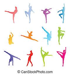vetorial, branca, conceito, fundo, ginastas