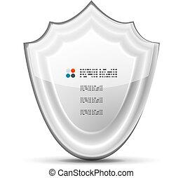 vetorial, branca, conceito, proteção, 3d