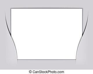 vetorial, branca, papel, retângulo, em branco