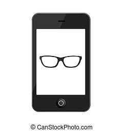 vetorial, branca, smartphone, modernos, isolado