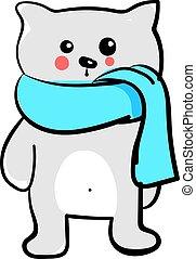 vetorial, branca, xale azul, gato, ilustração, experiência.