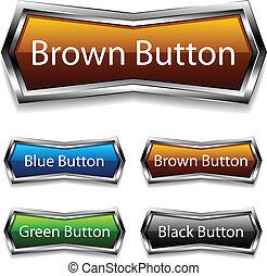 vetorial, brilhante, cromo, teia, botões