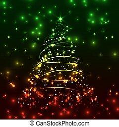 vetorial, brilhar, natal, árvore.