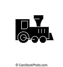 vetorial, brinquedo, ilustração, isolado, sinal, trem, experiência preta, ícone, locomotiva