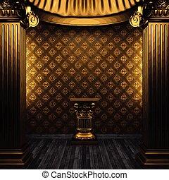 vetorial, bronze, colunas, pedestal, e, azulejo, parede