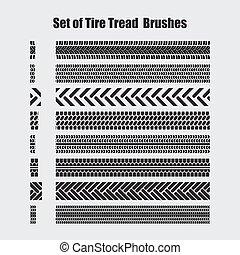 vetorial, brushes., jogo, passo, pneu