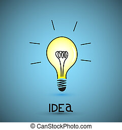 vetorial, bulbo, luz, idéia