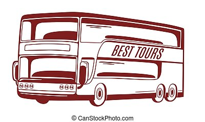 vetorial, bus., ilustração