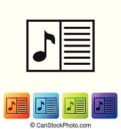 vetorial, buttons., jogo, folha, notas., pretas, cor, caderno, isolado, ilustração, nota musical, experiência., stave., quadrado, música, branca, livro, ícone
