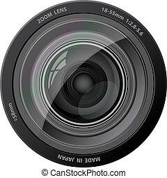 vetorial, câmera, lens.