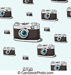 vetorial, câmera, seamless, fundo