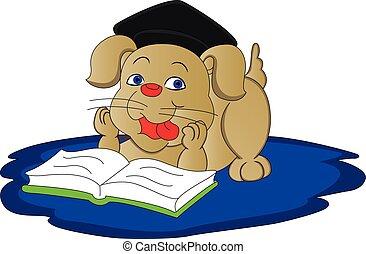 vetorial, cão, book., leitura