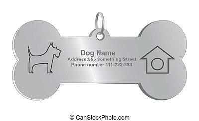 vetorial, cão, identidade, etiquetas
