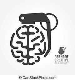 vetorial, cérebro, distorção, de, granada, conceito, motor,...