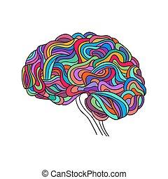 vetorial, cérebro humano