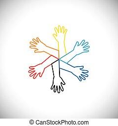 vetorial, círculo, conceito, ícone, mãos