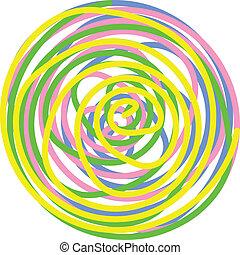 vetorial, círculo, feito, de, torcido, espirais, em, amarela, verde, cor-de-rosa, azul