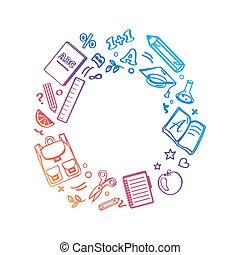vetorial, círculo, feito, ilustração, ícones