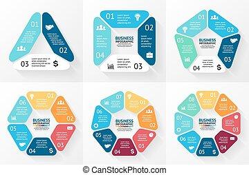 vetorial, círculo, infographic., modelo, para, ciclo,...