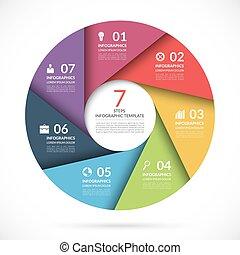 vetorial, círculo, modelo, para, negócio, infographics