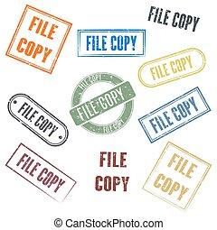 vetorial, cópia arquivo, jogo, selos, illustration.