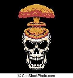 vetorial, cabeça, ilustração, cranio, nuke
