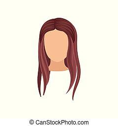 vetorial, cabeça lisa, mulher, beleza, cartaz, direito, haircut., longo, elemento, s, revista, moda, femininas, hair., elegante, salão, ou