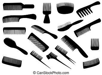 vetorial, cabeleireiras, ferramentas, isolado, branco