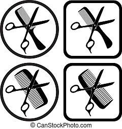 vetorial, cabeleireiras, símbolos