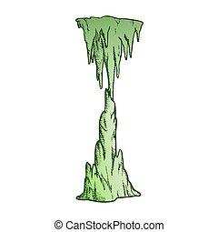 vetorial, cachoeira, estalactite, icicle, cor, congelado