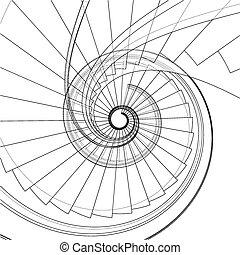 vetorial, caixa espiralada escada