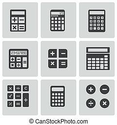 vetorial, calculadora preta, ícones, jogo